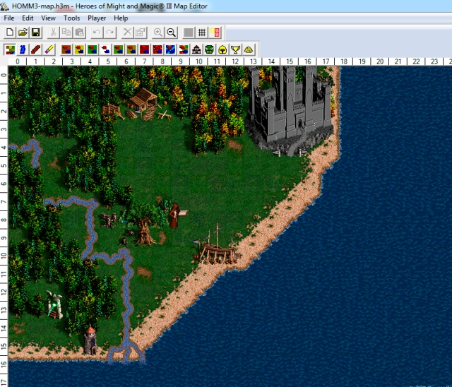 Kuva Heroes of Might and Magic 3 HD-pelin Map Editorista